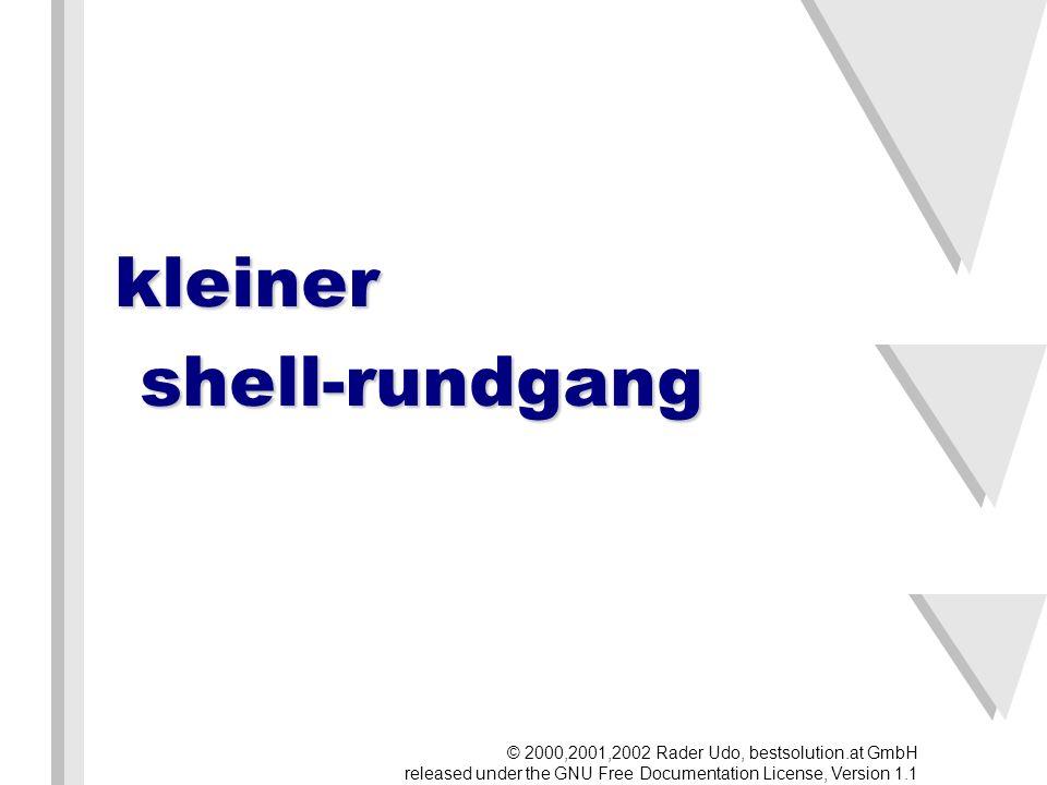 Ordnung in das Chaos Dateien sind nach bestimmten Kategorien in bestimmten Verzeichnissen (Ordnern, Directories) abgelegt: root-verzeichnis Einstellungen Geräte Home-Ordner Programme © 2000,2001,2002 Rader Udo, bestsolution.at GmbH released under the GNU Free Documentation License, Version 1.1