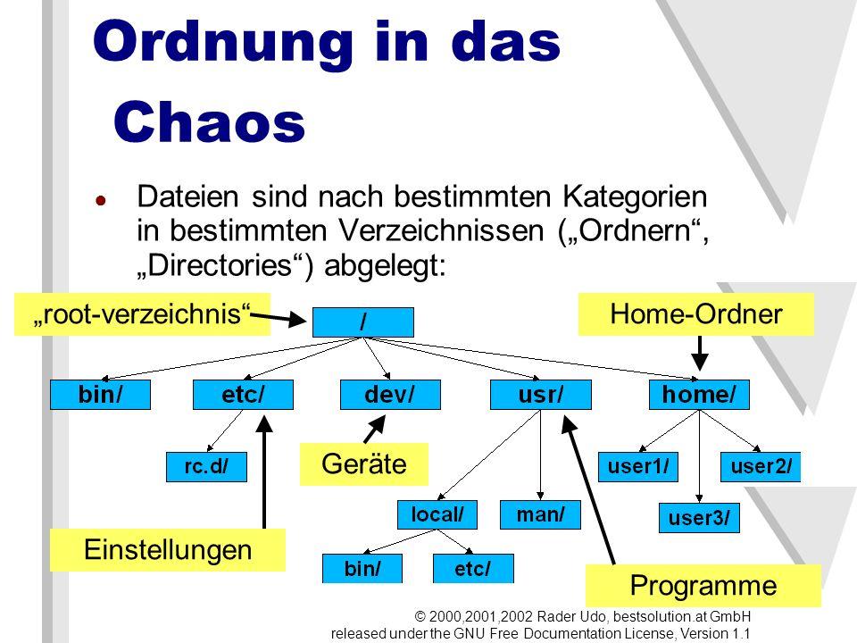 Nachinstallieren Programme liegen meistens in 2 Varianten vor: Quellcode (Sourcecode) muß kompiliert und anschließend installiert werden rpm-Pakete vorkompilierte Programme (executeables, binaries), die mit dem redhat-package-manager (rpm) installiert werden können © 2000,2001,2002 Rader Udo, bestsolution.at GmbH released under the GNU Free Documentation License, Version 1.1