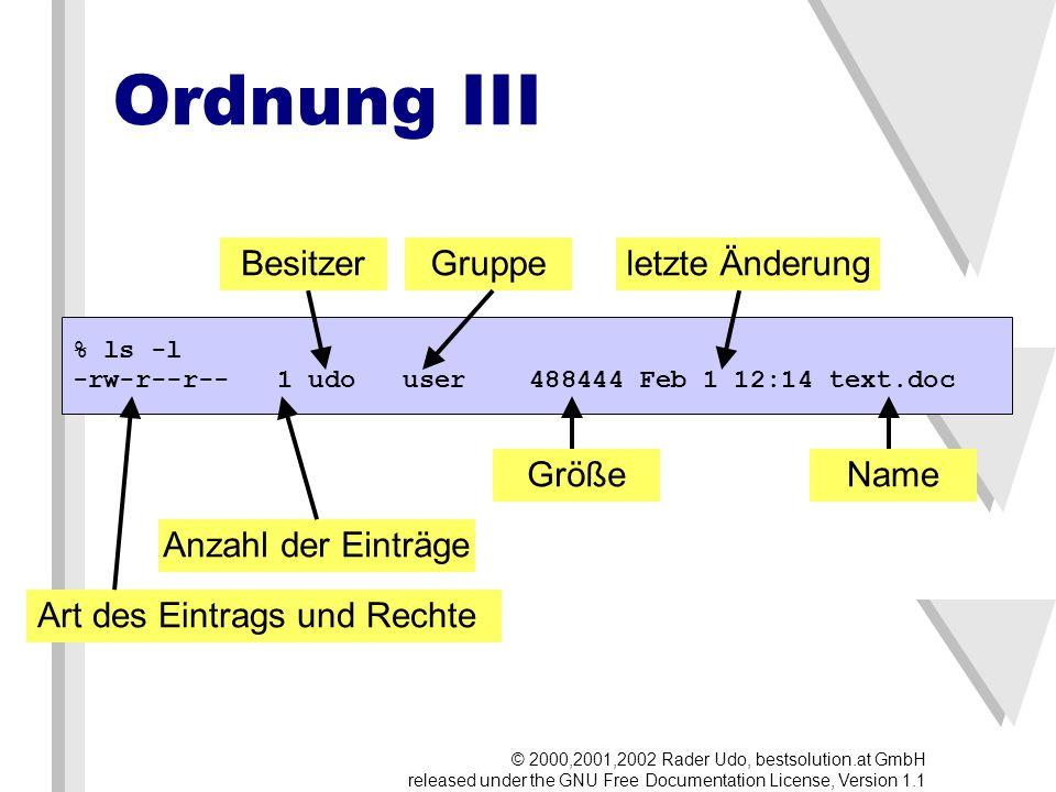 Fragen (& Antworten) © 2000,2001,2002 Rader Udo, bestsolution.at GmbH released under the GNU Free Documentation License, Version 1.1