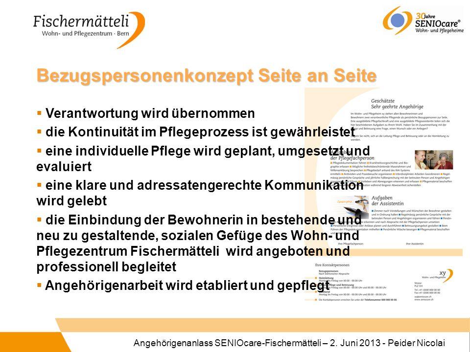 Angehörigenanlass SENIOcare-Fischermätteli – 2. Juni 2013 - Peider Nicolai Bezugspersonenkonzept Seite an Seite Verantwortung wird übernommen die Kont