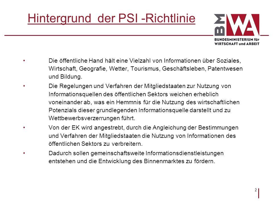 2 Hintergrund der PSI -Richtlinie Die öffentliche Hand hält eine Vielzahl von Informationen über Soziales, Wirtschaft, Geografie, Wetter, Tourismus, G