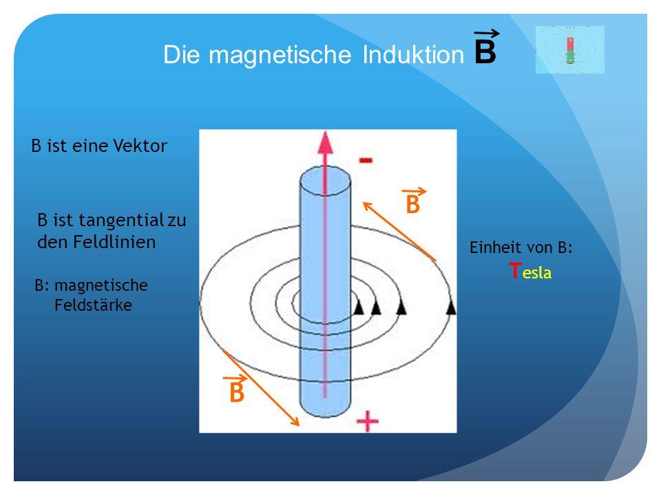 Die magnetische Induktion B B B B ist eine Vektor B ist tangential zu den Feldlinien B: magnetische Feldstärke Einheit von B: T esla