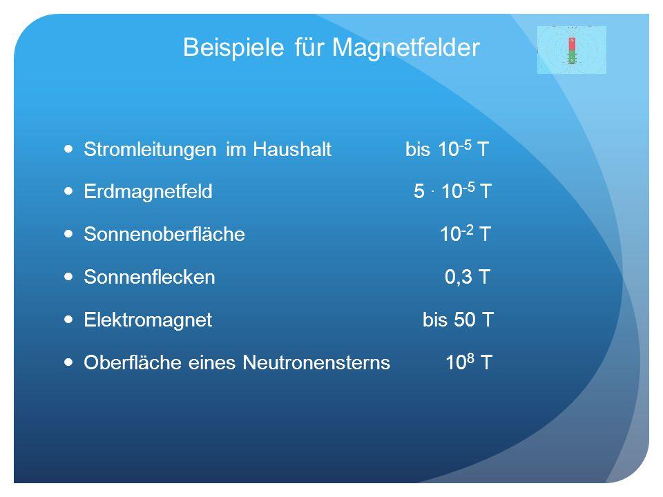 Beispiele für Magnetfelder Stromleitungen im Haushalt bis 10 -5 T Erdmagnetfeld 5. 10 -5 T Sonnenoberfläche 10 -2 T Sonnenflecken 0,3 T Elektromagnet