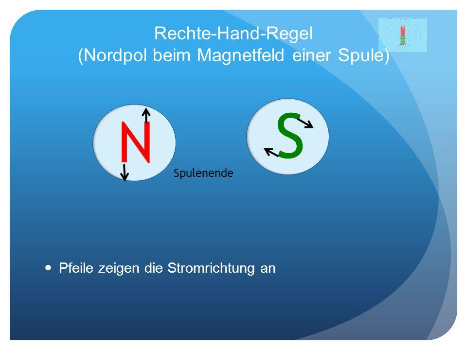 Rechte-Hand-Regel (Nordpol beim Magnetfeld einer Spule) Pfeile zeigen die Stromrichtung an S N Spulenende