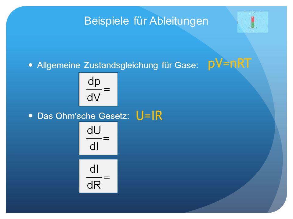 Beispiele für Ableitungen Allgemeine Zustandsgleichung für Gase: Das Ohmsche Gesetz: pV=nRT U=IR