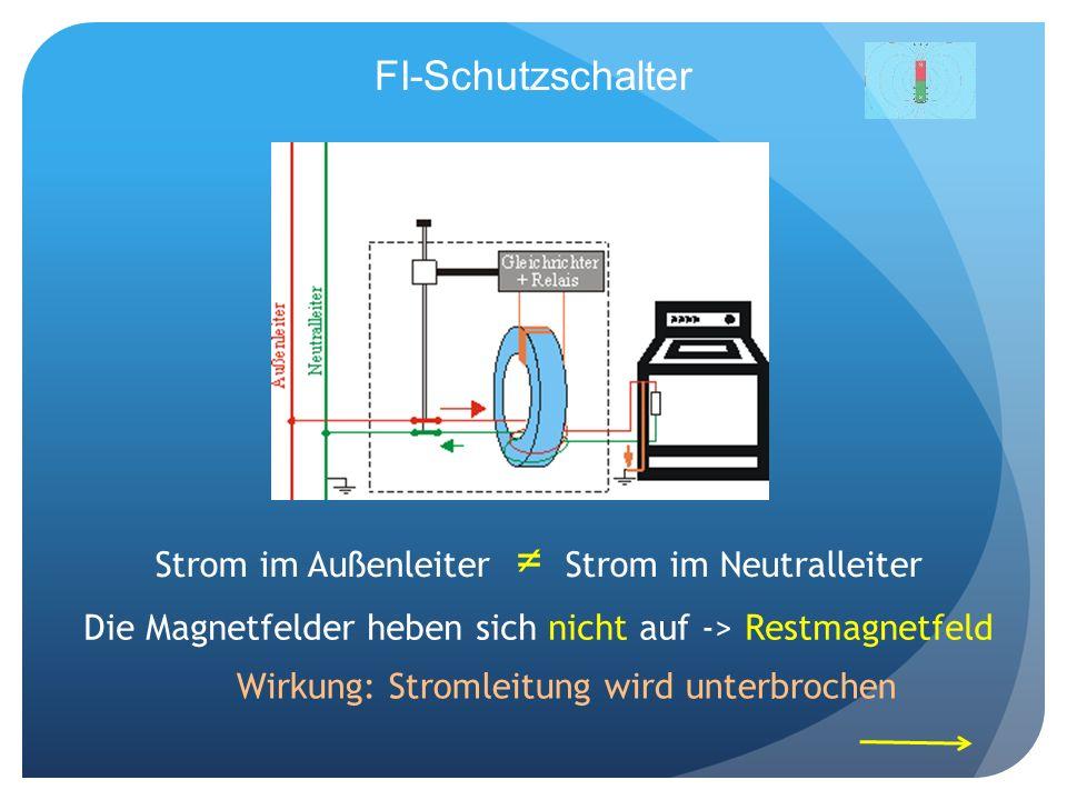 FI-Schutzschalter Strom im Außenleiter Strom im Neutralleiter Die Magnetfelder heben sich nicht auf -> Restmagnetfeld Wirkung: Stromleitung wird unter
