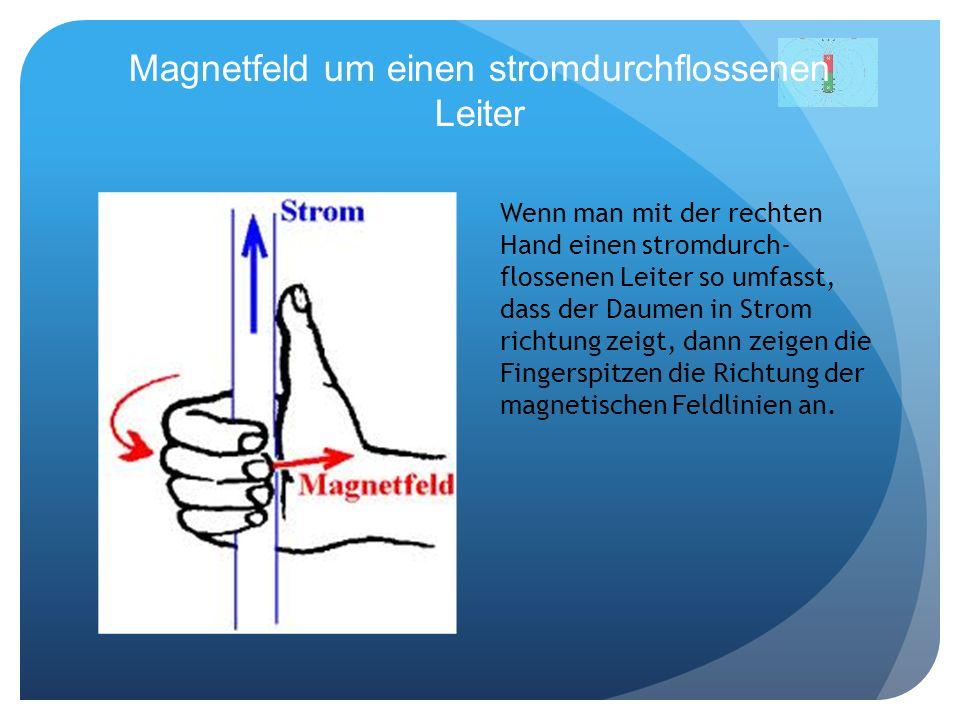 Magnetfeld um einen stromdurchflossenen Leiter Wenn man mit der rechten Hand einen stromdurch- flossenen Leiter so umfasst, dass der Daumen in Strom r