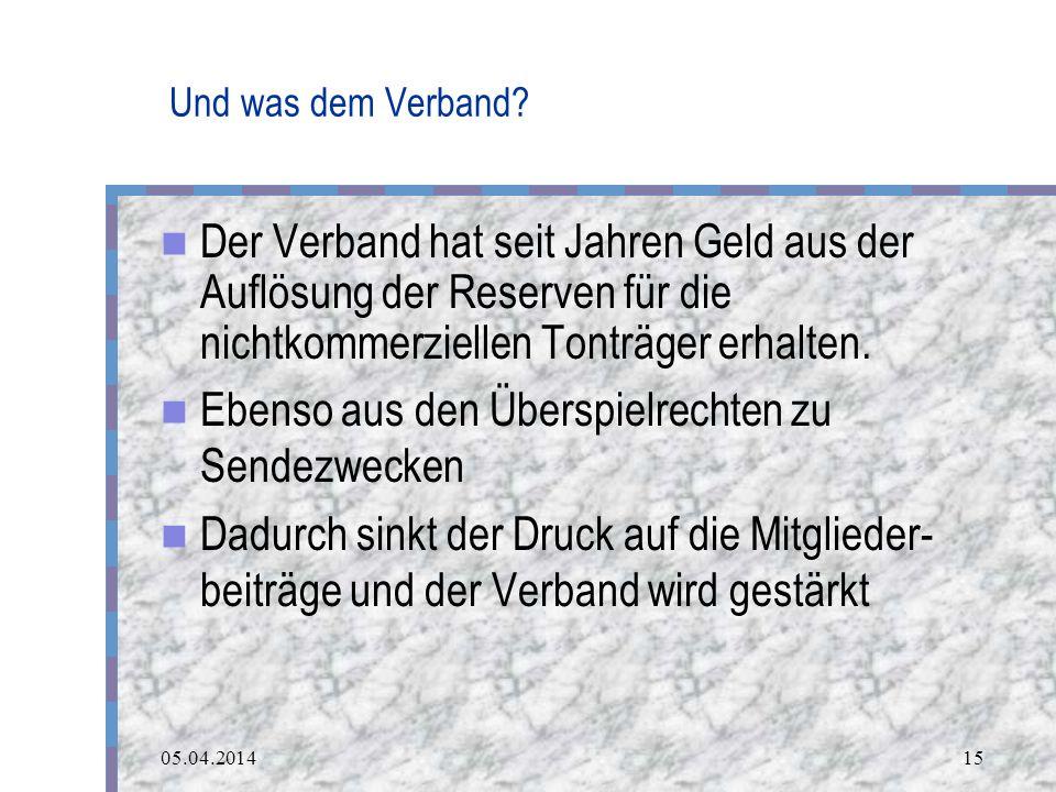 05.04.201415 Und was dem Verband.