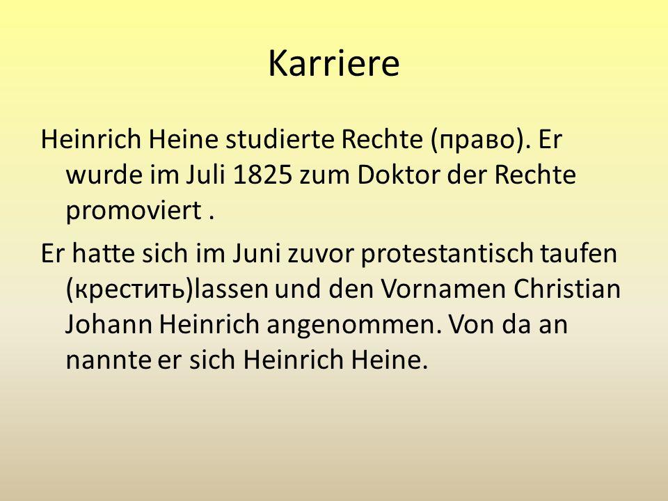 Literarische Erfolge 1821 - sein erster Lyrikband (сборник) Gedichte 1823 folgte Tragödien und ein Lyrisches Intermezzo 1824 erschien die Sammlung (собрание) Dreiunddreißig Gedichte, darunter Heines in Deutschland heute bekanntestes Werk: Die Loreley.Die Loreley 1824 besuchte er während einer Harzreise den von ihm hoch verehrten Johann Wolfgang von Goethe in Weimar.Johann Wolfgang von Goethe Weimar Im Jahr 1826 - der Reisebericht Harzreise, der sein erster großer Publikumserfolg wurde.Harzreise