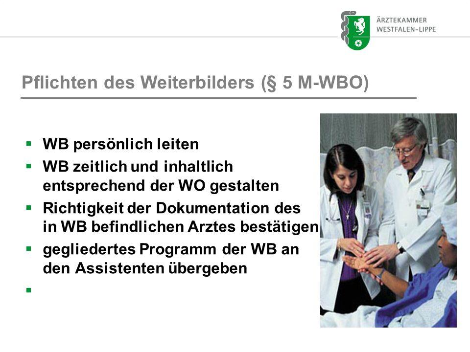 Pflichten des Weiterbilders (§ 5 M-WBO) WB persönlich leiten WB zeitlich und inhaltlich entsprechend der WO gestalten Richtigkeit der Dokumentation de