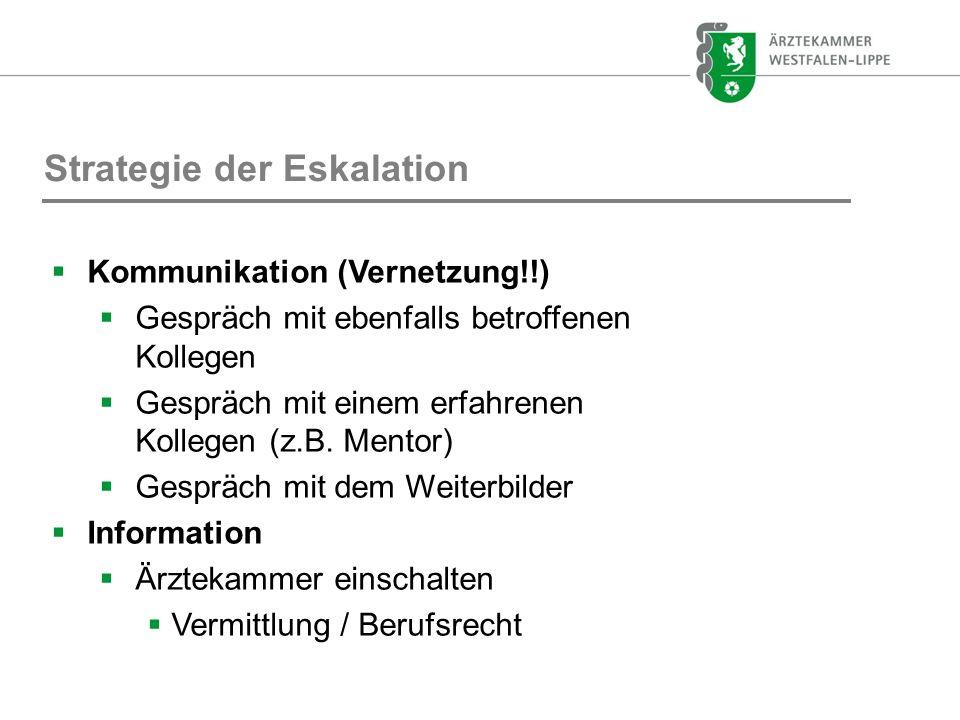 Strategie der Eskalation Kommunikation (Vernetzung!!) Gespräch mit ebenfalls betroffenen Kollegen Gespräch mit einem erfahrenen Kollegen (z.B. Mentor)