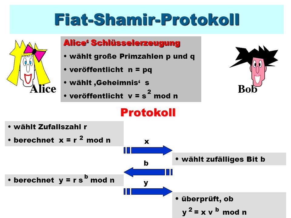 Analyse von Fiat-Shamir durchführbar Das Protokoll ist durchführbar, denn y = (r s ) = r s = r v = x v mod n 2b222b2bb korrektBetrugswahrscheinlichkeit Protokoll ist korrekt: Die Betrugswahrscheinlichkeit ist pro Runde höchstens ½: Erich kann nur eine der Fragen,b=0 und,b=1 beantworten, da aus y = x und y = xv folgt (y / y ) = v.