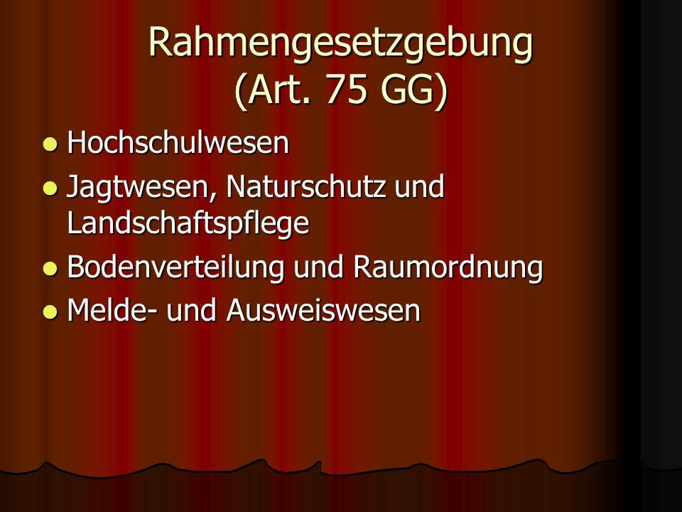 Rahmengesetzgebung (Art. 75 GG) Hochschulwesen Hochschulwesen Jagtwesen, Naturschutz und Landschaftspflege Jagtwesen, Naturschutz und Landschaftspfleg