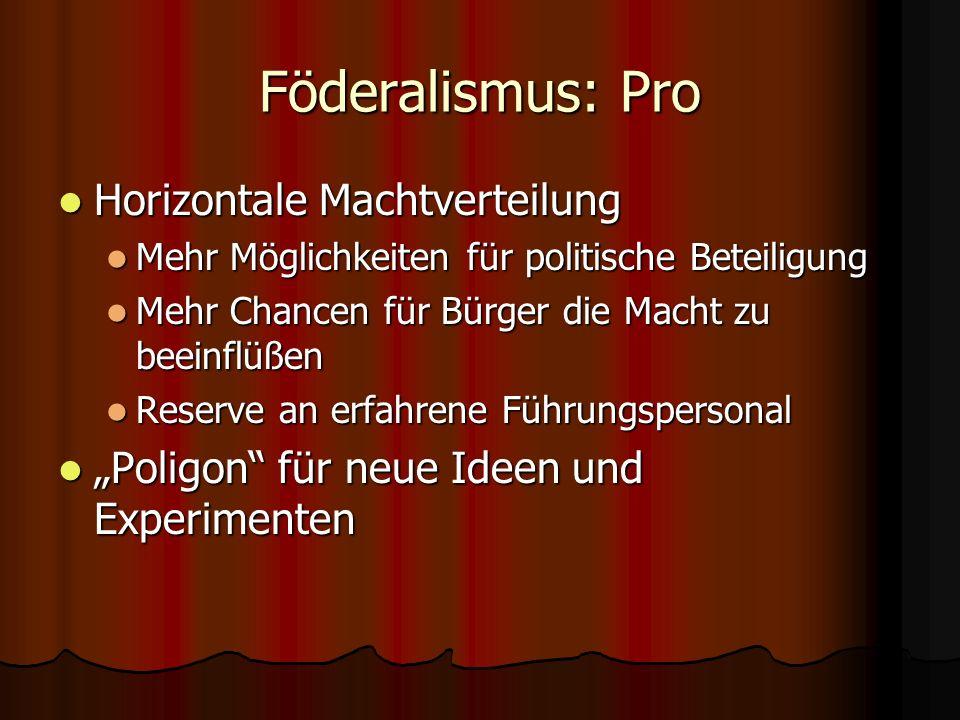 Föderalismus: Pro Horizontale Machtverteilung Horizontale Machtverteilung Mehr Möglichkeiten für politische Beteiligung Mehr Möglichkeiten für politis