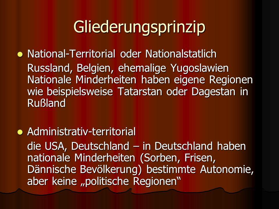 Gliederungsprinzip National-Territorial oder Nationalstatlich National-Territorial oder Nationalstatlich Russland, Belgien, ehemalige Yugoslawien Nati