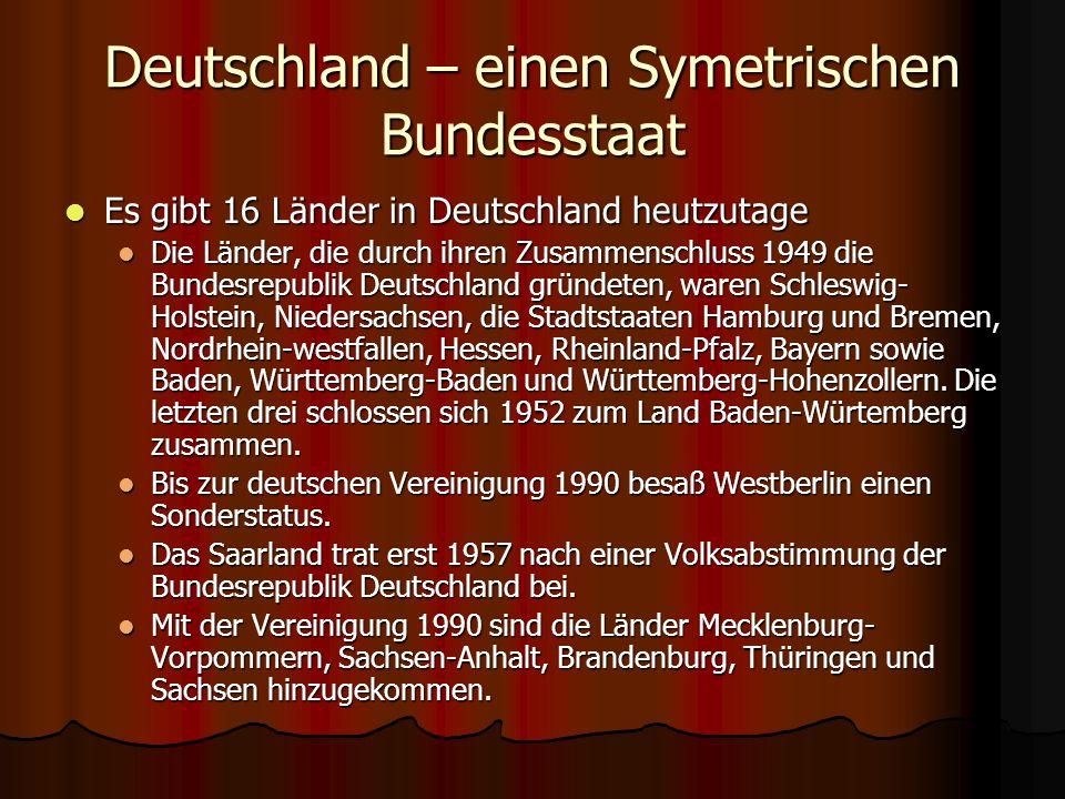 Deutschland – einen Symetrischen Bundesstaat Es gibt 16 Länder in Deutschland heutzutage Es gibt 16 Länder in Deutschland heutzutage Die Länder, die d