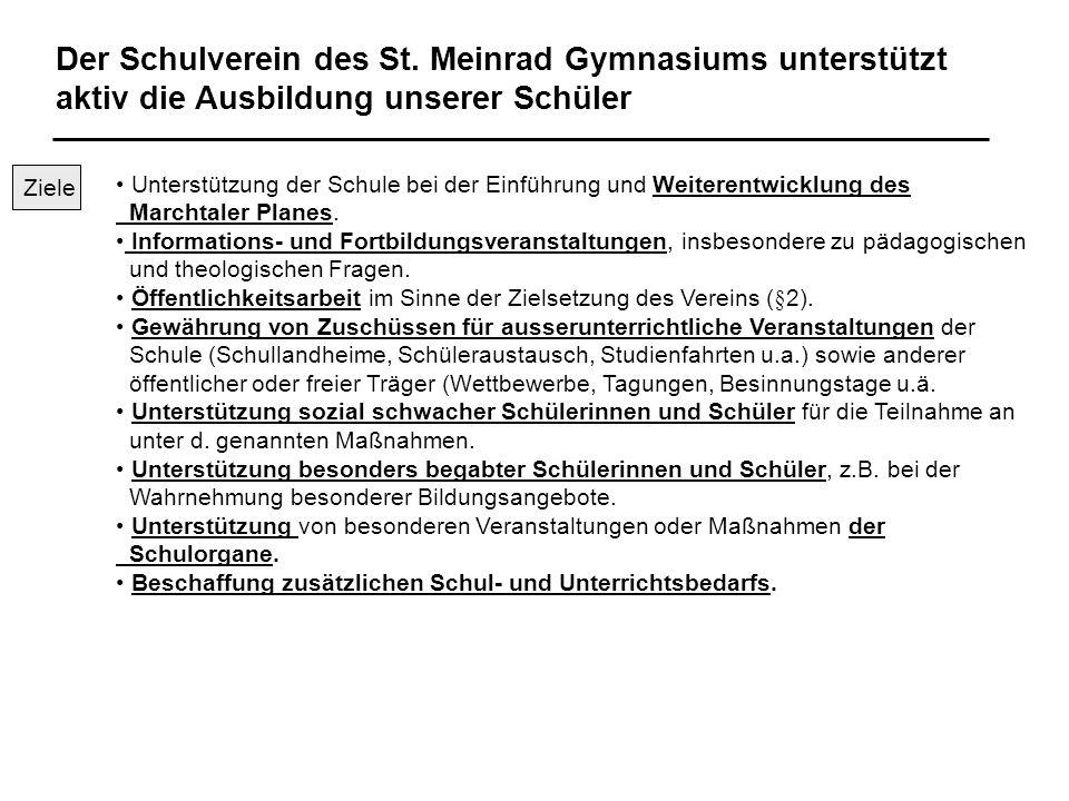 Der Schulverein des St. Meinrad Gymnasiums unterstützt aktiv die Ausbildung unserer Schüler Unterstützung der Schule bei der Einführung und Weiterentw