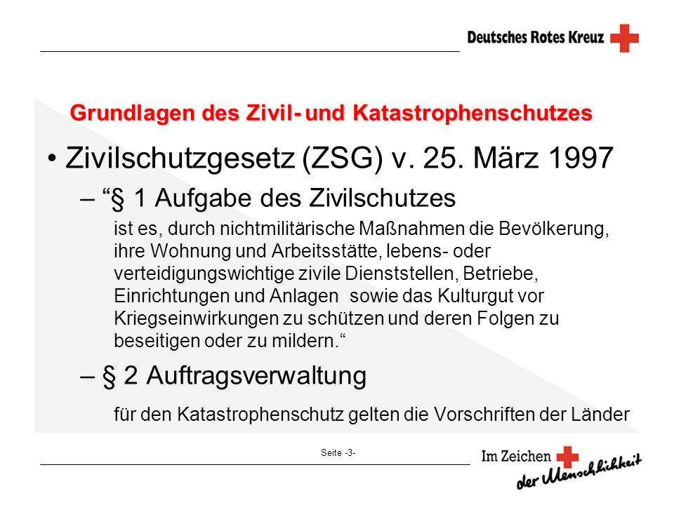 Seite -3- Grundlagen des Zivil- und Katastrophenschutzes Zivilschutzgesetz (ZSG) v. 25. März 1997 – § 1 Aufgabe des Zivilschutzes ist es, durch nichtm