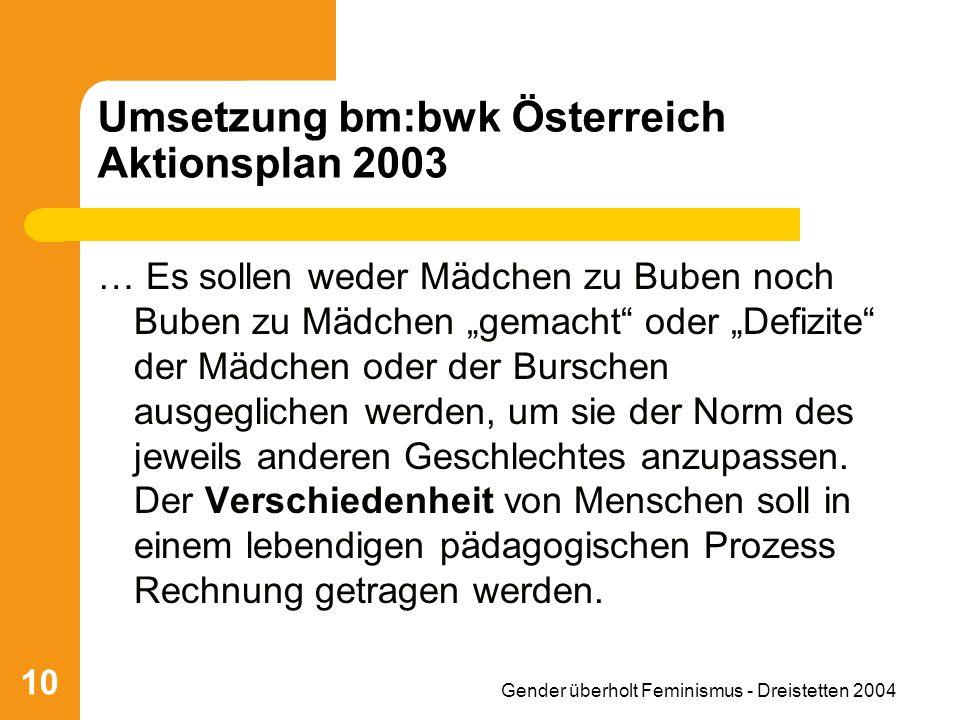 Gender überholt Feminismus - Dreistetten 2004 10 Umsetzung bm:bwk Österreich Aktionsplan 2003 … Es sollen weder Mädchen zu Buben noch Buben zu Mädchen