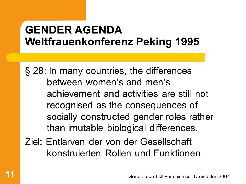 Gender überholt Feminismus - Dreistetten 2004 11 GENDER AGENDA Weltfrauenkonferenz Peking 1995 § 28: In many countries, the differences between womens and mens achievement and activities are still not recognised as the consequences of socially constructed gender roles rather than imutable biological differences.