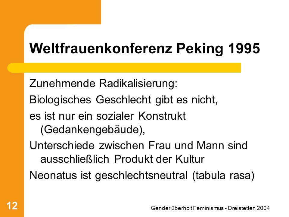 Gender überholt Feminismus - Dreistetten 2004 12 Weltfrauenkonferenz Peking 1995 Zunehmende Radikalisierung: Biologisches Geschlecht gibt es nicht, es