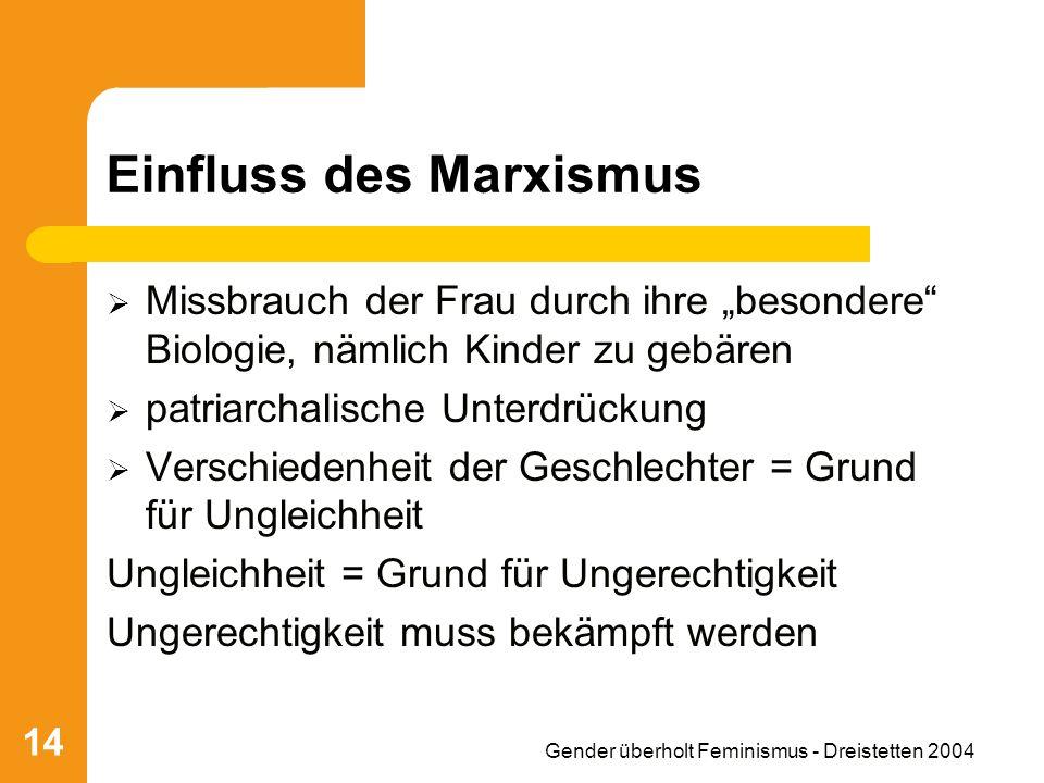 Gender überholt Feminismus - Dreistetten 2004 14 Einfluss des Marxismus Missbrauch der Frau durch ihre besondere Biologie, nämlich Kinder zu gebären p