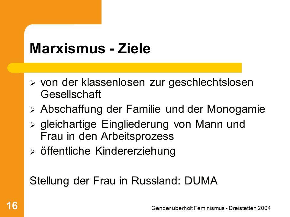 Gender überholt Feminismus - Dreistetten 2004 16 Marxismus - Ziele von der klassenlosen zur geschlechtslosen Gesellschaft Abschaffung der Familie und