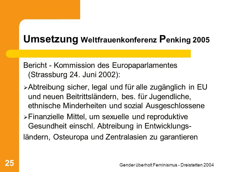 Gender überholt Feminismus - Dreistetten 2004 25 Umsetzung Weltfrauenkonferenz P enking 2005 Bericht - Kommission des Europaparlamentes (Strassburg 24.