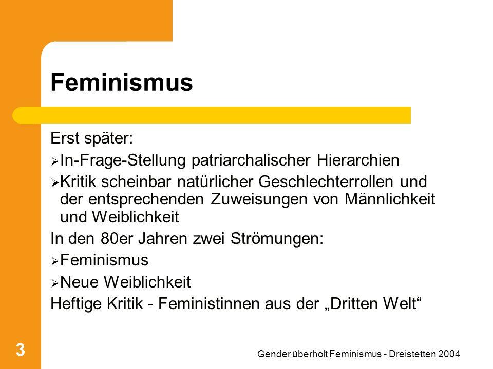 Gender überholt Feminismus - Dreistetten 2004 14 Einfluss des Marxismus Missbrauch der Frau durch ihre besondere Biologie, nämlich Kinder zu gebären patriarchalische Unterdrückung Verschiedenheit der Geschlechter = Grund für Ungleichheit Ungleichheit = Grund für Ungerechtigkeit Ungerechtigkeit muss bekämpft werden