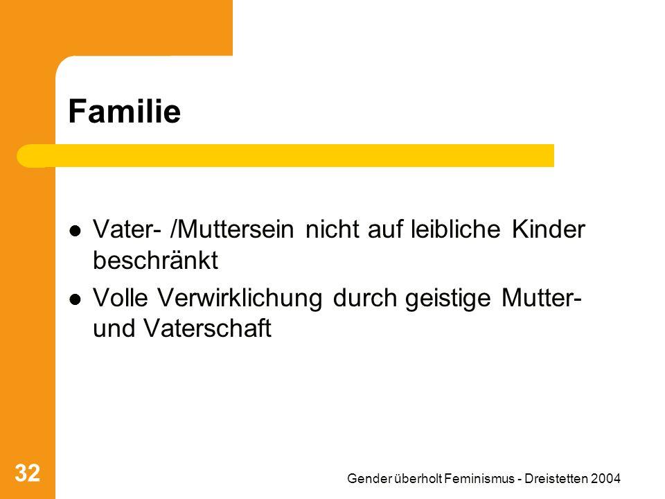 Gender überholt Feminismus - Dreistetten 2004 32 Familie Vater- /Muttersein nicht auf leibliche Kinder beschränkt Volle Verwirklichung durch geistige Mutter- und Vaterschaft