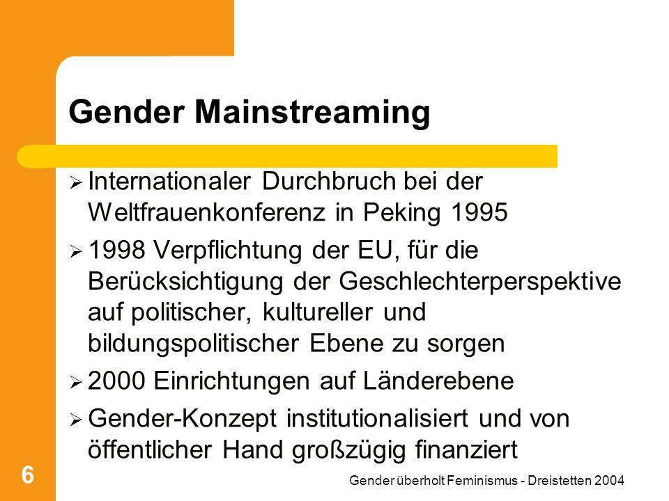 Gender überholt Feminismus - Dreistetten 2004 6 Gender Mainstreaming Internationaler Durchbruch bei der Weltfrauenkonferenz in Peking 1995 1998 Verpflichtung der EU, für die Berücksichtigung der Geschlechterperspektive auf politischer, kultureller und bildungspolitischer Ebene zu sorgen 2000 Einrichtungen auf Länderebene Gender-Konzept institutionalisiert und von öffentlicher Hand großzügig finanziert