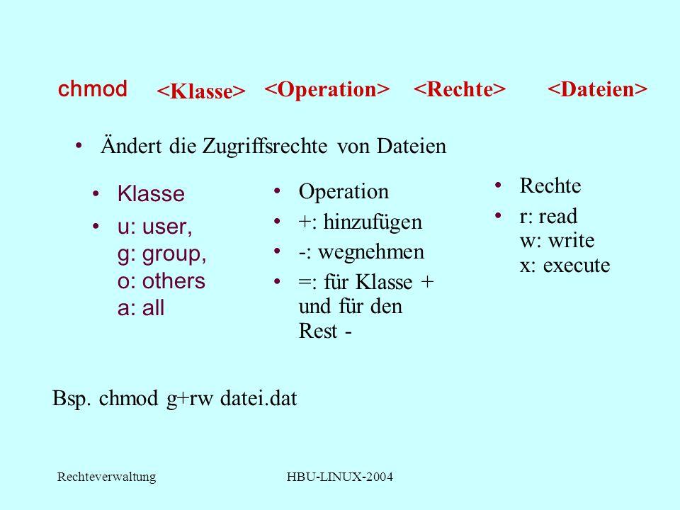 RechteverwaltungHBU-LINUX-2004 chmod Klasse u: user, g: group, o: others a: all Bsp.