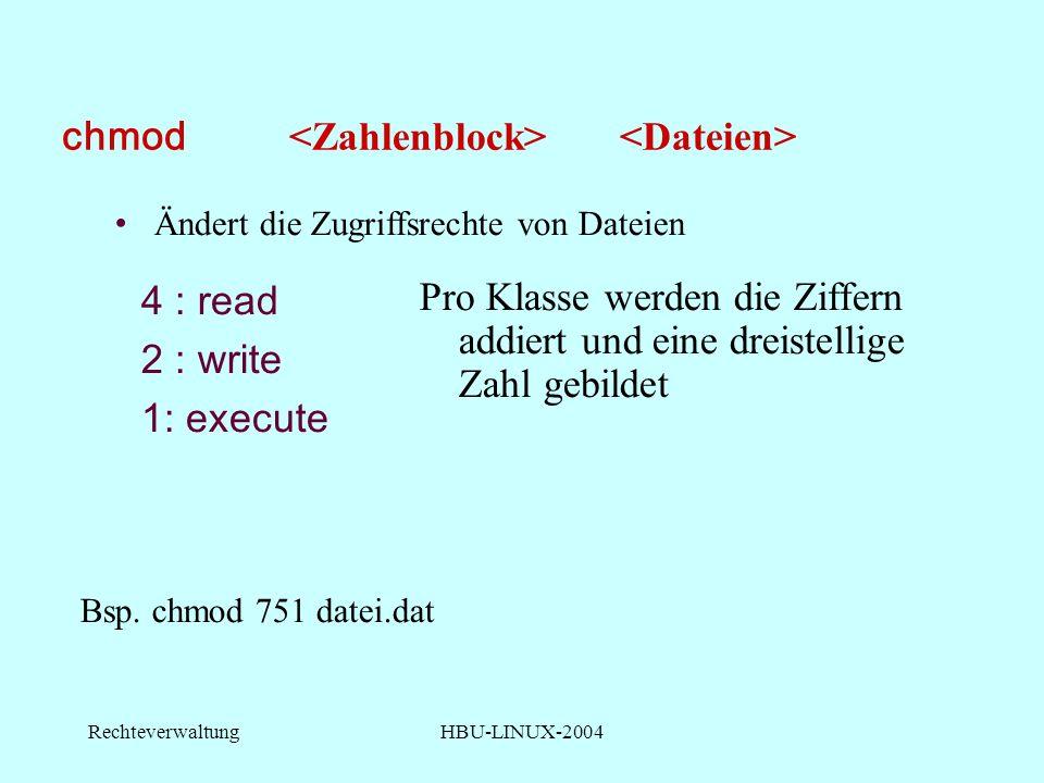 RechteverwaltungHBU-LINUX-2004 chmod 4 : read 2 : write 1: execute Bsp.