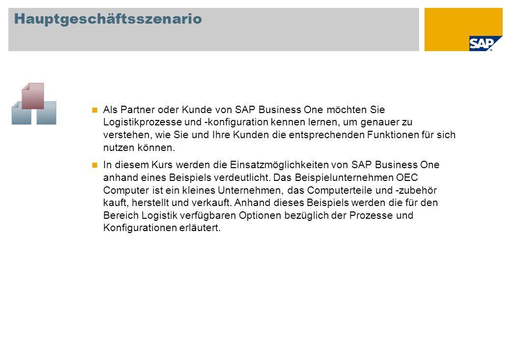 Als Partner oder Kunde von SAP Business One möchten Sie Logistikprozesse und -konfiguration kennen lernen, um genauer zu verstehen, wie Sie und Ihre K