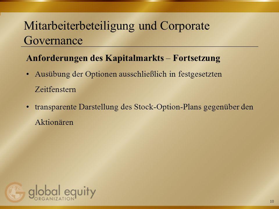 10 Mitarbeiterbeteiligung und Corporate Governance Anforderungen des Kapitalmarkts – Fortsetzung Ausübung der Optionen ausschließlich in festgesetzten