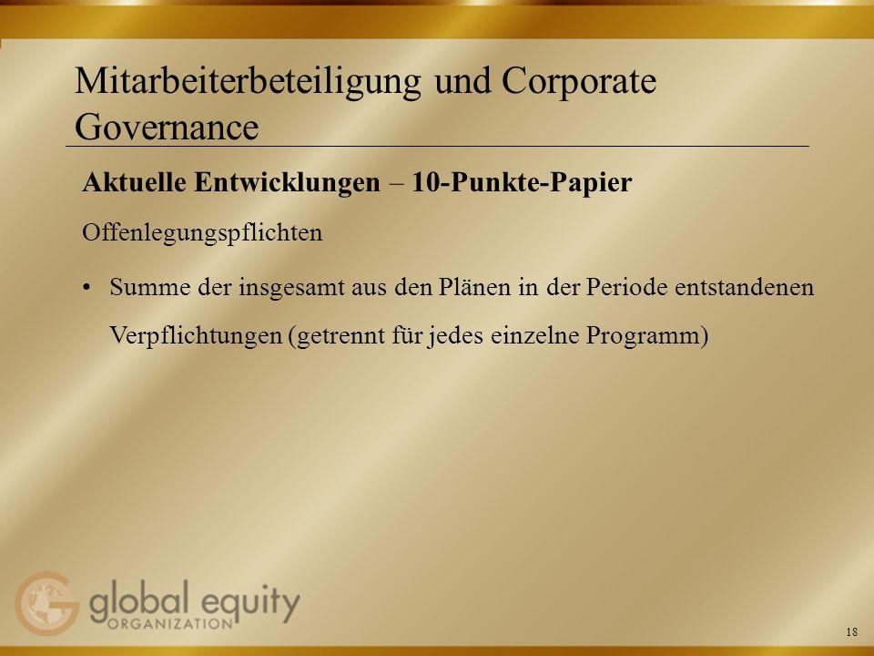 18 Mitarbeiterbeteiligung und Corporate Governance Aktuelle Entwicklungen – 10-Punkte-Papier Offenlegungspflichten Summe der insgesamt aus den Plänen