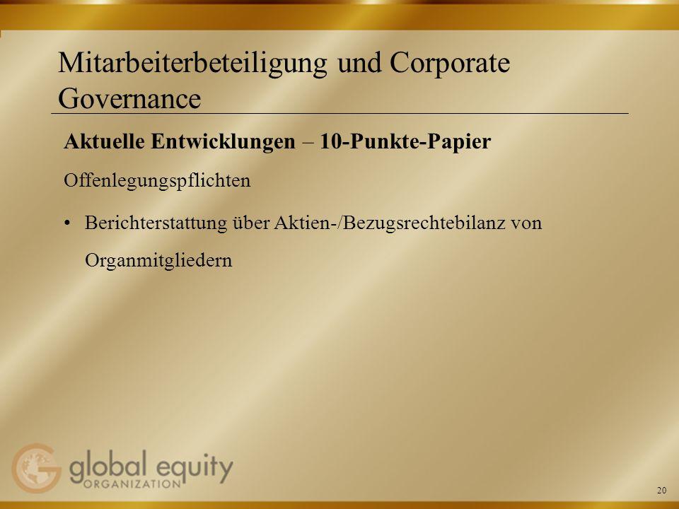 20 Mitarbeiterbeteiligung und Corporate Governance Aktuelle Entwicklungen – 10-Punkte-Papier Offenlegungspflichten Berichterstattung über Aktien-/Bezu