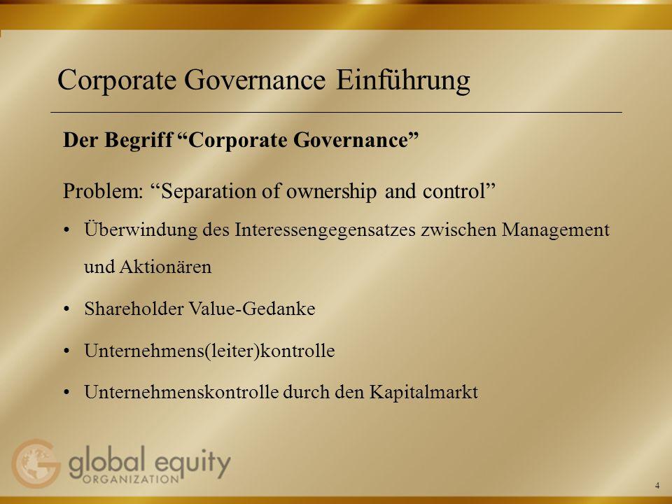 5 Corporate Governance Einführung Der Begriff Corporate Governance – Fortsetzung Problem: Separation of ownership and control Aktienkurs als Indikator für Unternehmenserfolg und erfolgreiche Unternehmensführung Kommunikation, Transparenz, Rechenschaftslegung