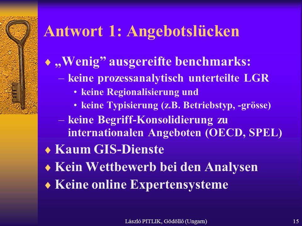 László PITLIK, Gödöllő (Ungarn)15 Antwort 1: Angebotslücken Wenig ausgereifte benchmarks: –keine prozessanalytisch unterteilte LGR keine Regionalisier