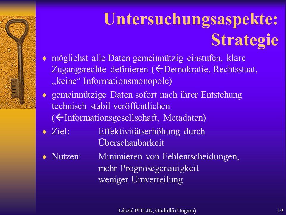 László PITLIK, Gödöllő (Ungarn)19 Untersuchungsaspekte: Strategie möglichst alle Daten gemeinnützig einstufen, klare Zugangsrechte definieren ( Demokr