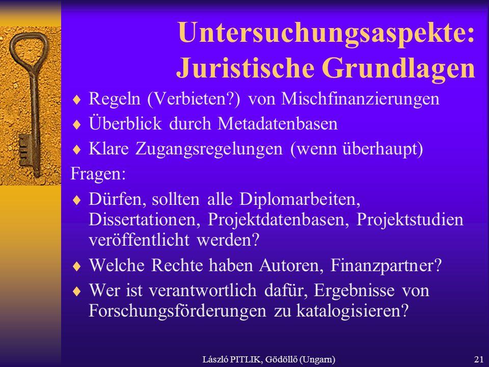 László PITLIK, Gödöllő (Ungarn)21 Untersuchungsaspekte: Juristische Grundlagen Regeln (Verbieten?) von Mischfinanzierungen Überblick durch Metadatenba
