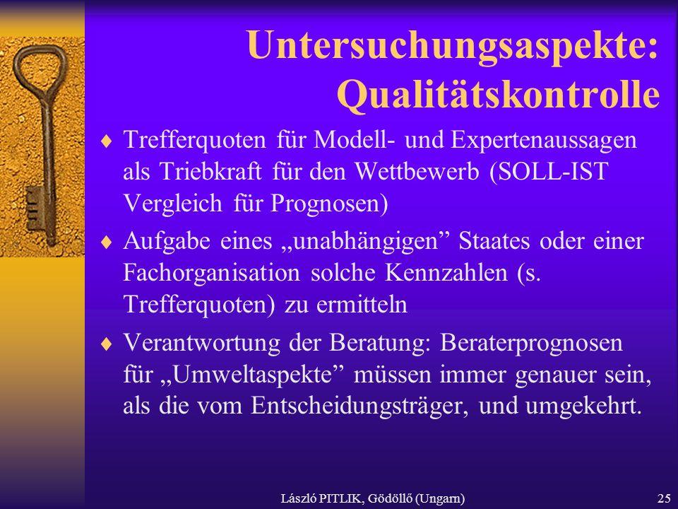 László PITLIK, Gödöllő (Ungarn)25 Untersuchungsaspekte: Qualitätskontrolle Trefferquoten für Modell- und Expertenaussagen als Triebkraft für den Wettb