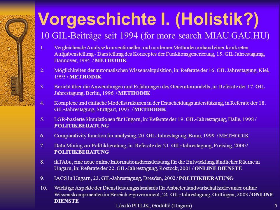 László PITLIK, Gödöllő (Ungarn)5 Vorgeschichte I. (Holistik?) 10 GIL-Beiträge seit 1994 (for more search MIAU.GAU.HU) 1.Vergleichende Analyse konventi