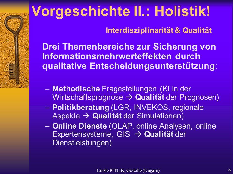 László PITLIK, Gödöllő (Ungarn)6 Vorgeschichte II.: Holistik! Interdisziplinarität & Qualität Drei Themenbereiche zur Sicherung von Informationsmehrwe