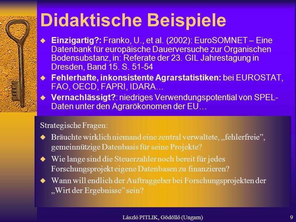László PITLIK, Gödöllő (Ungarn)9 Didaktische Beispiele Einzigartig?: Franko, U., et al. (2002): EuroSOMNET – Eine Datenbank für europäische Dauerversu