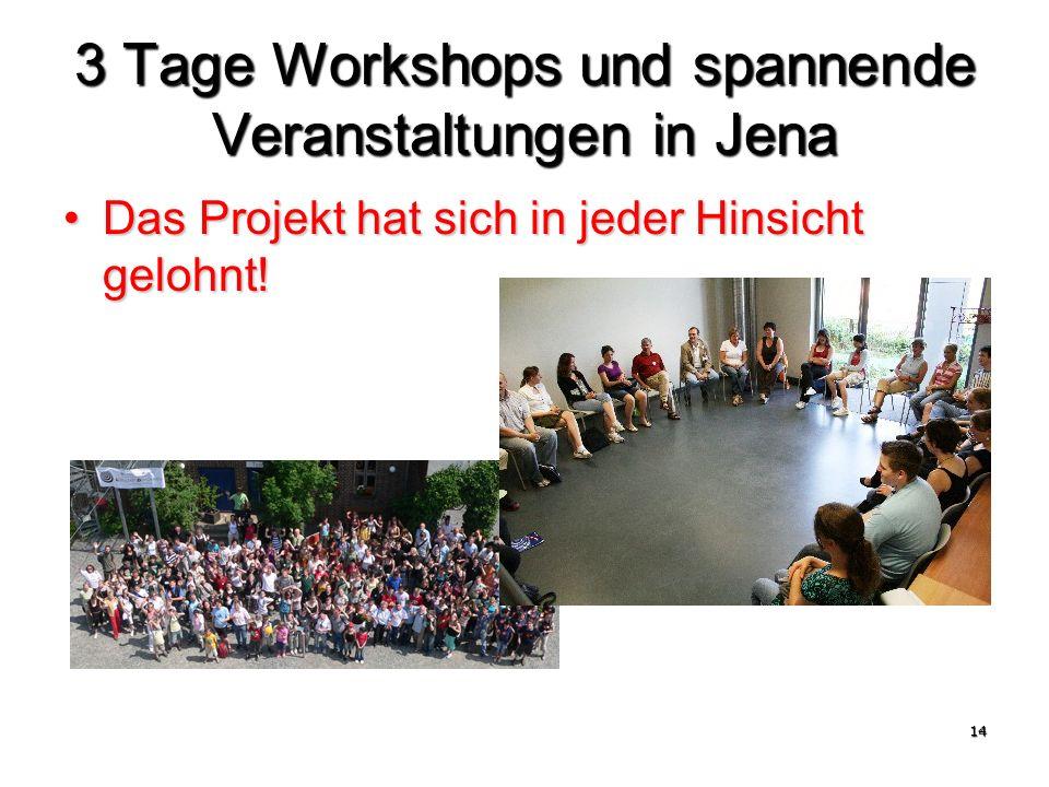 14 3 Tage Workshops und spannende Veranstaltungen in Jena Das Projekt hat sich in jeder Hinsicht gelohnt!Das Projekt hat sich in jeder Hinsicht gelohnt!
