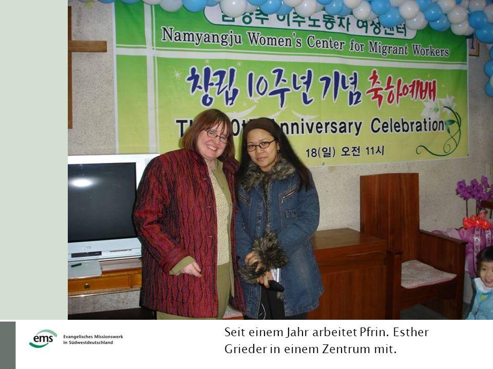 Seit einem Jahr arbeitet Pfrin. Esther Grieder in einem Zentrum mit.