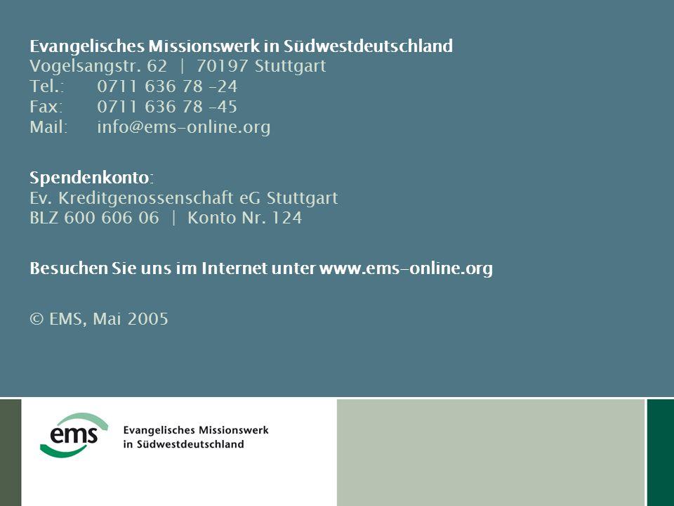 Evangelisches Missionswerk in Südwestdeutschland Vogelsangstr.