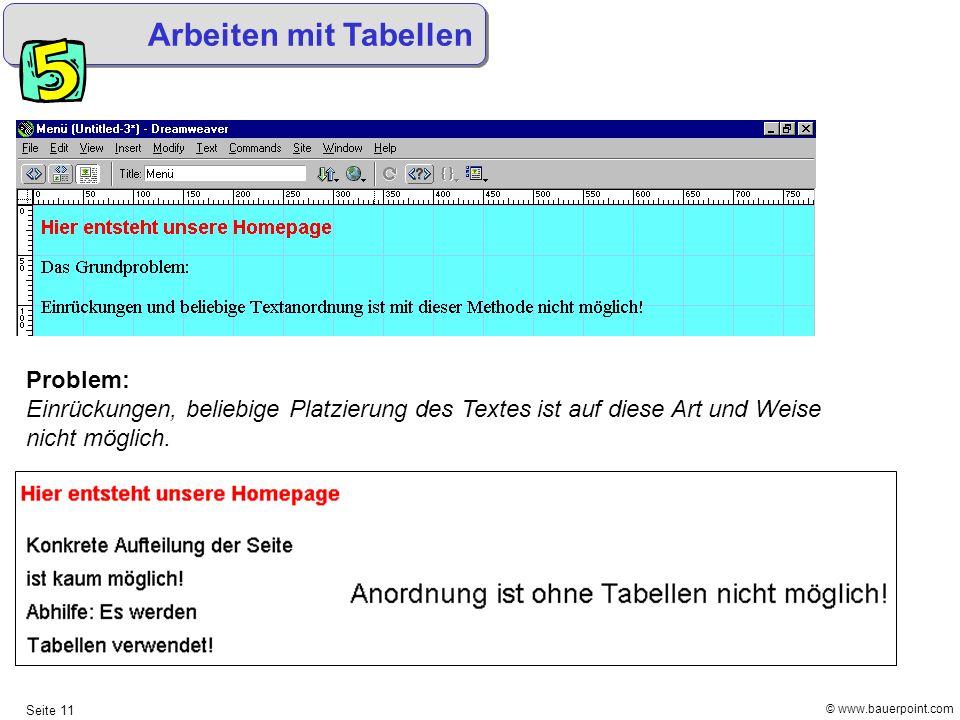 © www.bauerpoint.com Seite 11 Arbeiten mit Tabellen Problem: Einrückungen, beliebige Platzierung des Textes ist auf diese Art und Weise nicht möglich.