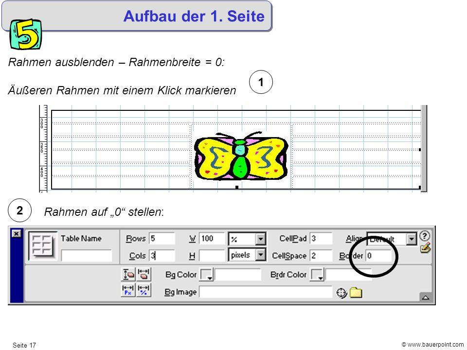© www.bauerpoint.com Seite 17 Aufbau der 1. Seite Rahmen ausblenden – Rahmenbreite = 0: Äußeren Rahmen mit einem Klick markieren 2 1 Rahmen auf 0 stel